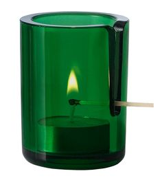 This is a brilliant idea. The Match Tealight holder from Muuto conveniently has a little slot so you can slide a matchstick down to light the candle. No more burnt fingers.