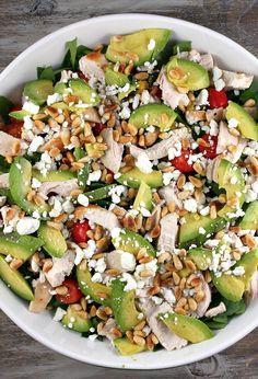 Yum!!!! Spinach Salad with Chicken, Avocado and Goat Cheese #recipe