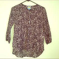 Sheer cotton/silk 3/4 sleeve blouse Cute spotted shirt, sheer. 72% cotton, 28% silk. Dry clean only C&C California Tops