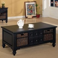 Coaster Furniture - San Jose Casual Cocktail Table with Storage Baskets - 700478 | Great Furniture Deal