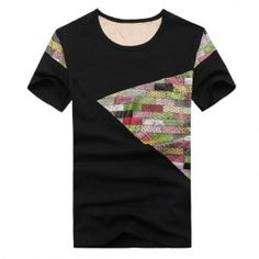 $9.85 Stylish Round Collar Colorful Bricks Splicing Polyester Short T-Shirt For Men