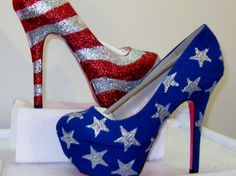 of July~insanely patriotic bedazzled shoes Pretty Shoes, Cute Shoes, Me Too Shoes, Sexy Heels, Stiletto Heels, High Heels, Bedazzled Shoes, Glitter Shoes, Boots Talon