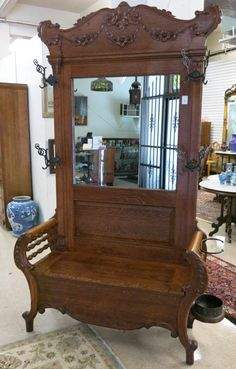 Vintage Furniture - great homes Old World Furniture, Hall Furniture, Dream Furniture, Recycled Furniture, Furniture Design, Victorian Interiors, Victorian Furniture, Antique Furniture, Antique Hall Tree