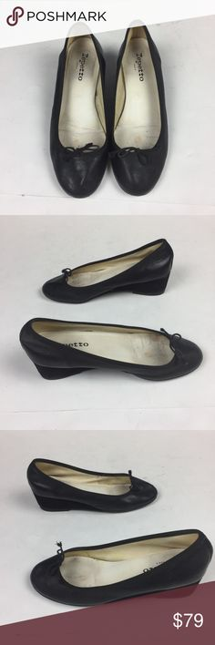 Repetto Paris Norma Ballerinas wedges Sz 38 US 7 B Excellent used condition! Norma Wedges Ballerina by Repetto Paris, black leather and black suede size 38 matches size US 7. Signs of use at insides and soles please see pictures  Heel measures approximately 40mm/ 1.5 inches. Repetto's black leather and suede 'Norma' ballet wedges are an ideal choice for on-the-go fashionistas. The low wedge heel adds subtle lift to your look without sacrificing the comfort of classic flats.   - Covered wedge…