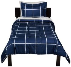 Comforter Set Bed-In-A-Bag Bedding Navy Simple Plaid Sheets Included College Bedding Sets, Twin Xl Bedding Sets, Twin Bed Sheets, Comforter Sets, Window Bed, Window Seats, Hotel Collection Bedding, Bed Linen Design, Luxury Bedding