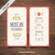 Menú en vector plano mexicano de restaurante con tacos.