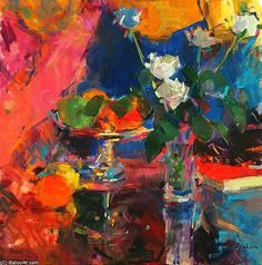 Still Life With Roses blanches de Peter Graham Ii