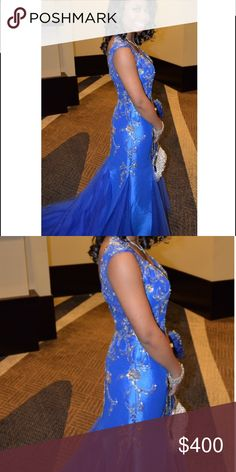 """MacDuggal """"One of A Kind"""" Layered Mermaid Dress Beautiful rhinestones all through out the dress that gives it a an old Hollywood feel. 👑 Has a nice train. The dress was altered to completely fit someone under 5'4. I'm 4'9. It has a V- shape back and zipper. Built in B-C cup bra. + 💖 I have the matching shoes, purse & bracelet to match. Mac Duggal Dresses Prom"""