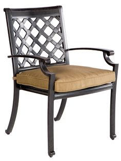 Lattice Stacking Dining Arm Chair With Cushion