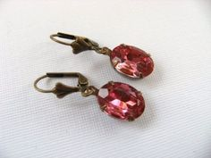 Vintage Pink Jewel Glass Oval and Brass Earrings by TheSilverDog, $10.00