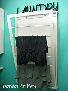 Laundry room DIY hanging clothes rack for air drying!  LOVE IT!!!  Maybe something to do this summer, or maybe winter break!