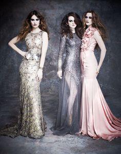 Gorgeous Downton ladies: Cara Theobold (Ivy Stuart), Sophie McShera (Daisy Mason) and Lily James (Lady Rose MacCalre)