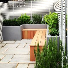 Small rear garden in Fulham, London with painted render built in beds and seating with storage. the planted is mainly scented evergreens. Natural grey paving has been used for surfaces.