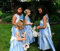 Pegeen Tween style 320 for Jr. Bridesmaids and style 398 in light wisteria and white flower girl dresses