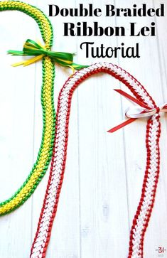 graduation leis How to make a double braided ribbon lei with 4 strands of ribbon. And easy-to- ribbon lei tutorial perfect for Hawaiian graduation lei gifts. Ribbon Lei, Ribbon Braids, Diy Ribbon, Ribbon Flower, White Ribbon, How To Make Leis, How To Make Ribbon, Graduation Crafts, Graduation Leis