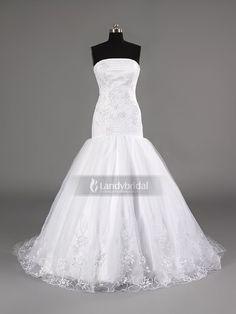 ランディブライダル ウェディングドレス マーメイド ビスチェ ブラシトレーン ホワイト 結婚式 二次会 披露宴 H7lbld1174