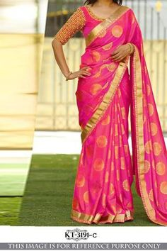 An admirable look completes when you drape this alluring.Pink Colored Beautiful Jacquard Silk Saree for an important ceremony. Made of Jaquard Silk and Banglori Silk, this Saree sets a class a elegance and style making you look Transcendentally gorgeous Saree Blouse Patterns, Sari Blouse Designs, Blouse Styles, Indian Designer Sarees, Latest Designer Sarees, Ethnic Sarees, Silk Sarees, Indian Sarees, Saree Models