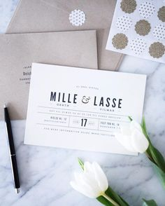 Classic Type - Pistols. Traditional ivory wedding invitations from Minted.
