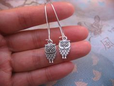 Owl Earrings  Tibetan Silver Antiqued Silver by jingsbeadingworld, $12.00
