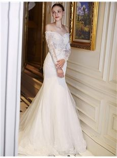 Trumpet/Mermaid Long Sleeves Spring Beading Sexy & Hot Criss-Cross Straps Hall Off-the-Shoulder Wedding Dress