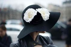 Black floppy hat with white flowers