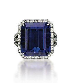 Tanzanite, Diamond and Platinum Ring