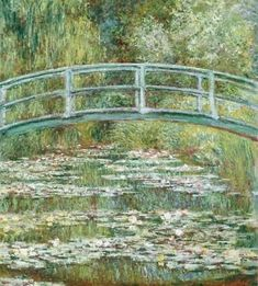 Bridge over a Pond of Water Lilies, by Claude Monet, French impressionist oil painting. In the summer of 1899 Monet completed 12 canvases of the wooden footbridge over the lily pond at Giverny , Claude Monet, Monet Paintings, Landscape Paintings, Famous Art Paintings, Famous Artwork, French Paintings, Classic Paintings, European Paintings, French Artwork