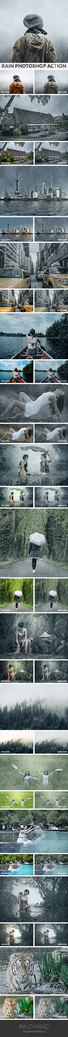 Rain Photoshop Action - Photo Effects Actions
