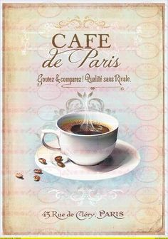Vintage Shabby Bügelbild Cafe Schokolade Paris von Doreen`s Bastelstube  - Kreativ & Außergewöhnlich auf DaWanda.com