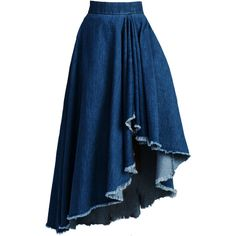 Asymmetric Hem Denim Frayed Trim Flared Maxi Skirt found on Polyvore featuring polyvore, women's fashion, clothing, skirts, bottoms, faldas, gonne, floor length skirt, asymmetrical hem skirt and maxi skirt