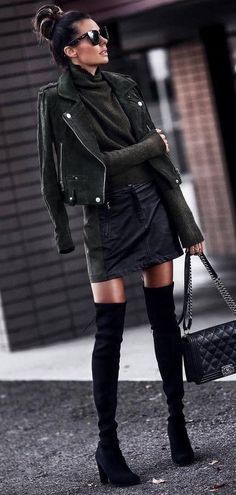 all balck everything | sweater + moto jacket + mini skirt + bag + over knee boots