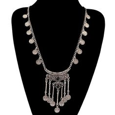 Antique Silver Tassels Long Carving Coins Necklace