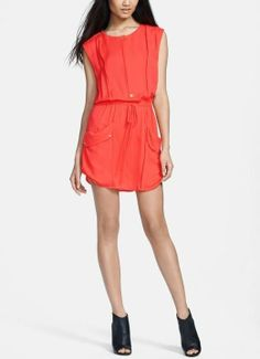 This bright coral silk dress is adorable!