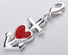 925 Sterling Silver plated Charm (Heart Anchor) NOW $3.95 only! Free US & Int'l Shipping. Exp 10/31.