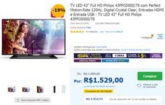 "TV LED 43"" Full HD Philips 43PFG5000/78 com Perfect Motion Rate 120Hz Entradas HDMI e Entrada USB << R$ 145255 em 10 vezes >>"