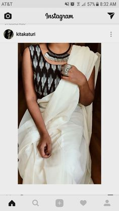 I don't know why I am loving black and white sarees Best Indian Sari Click Visit above for more options White Saree Blouse, Saree Dress, Chiffon Saree, Black Blouse, Sleeveless Blouse, Black And White Saree, Dress Black, Black Saree, Moda Indiana