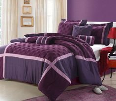 Chic Home 8-Piece Sadie Plum Comforter Set , Queen