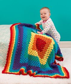 rainbow granny square #crochet blanket by @jessie_athome for @redheartyarns
