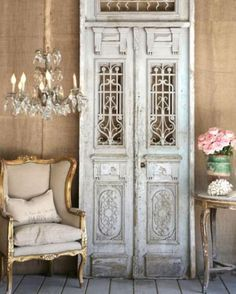 … antique iron double doors in French grey finish …SHABBY CHIC French Decor, French Country Decorating, Swedish Decor, French Interior, Interior And Exterior, Interior Design, Interior Doors, Interior Ideas, Interior Inspiration