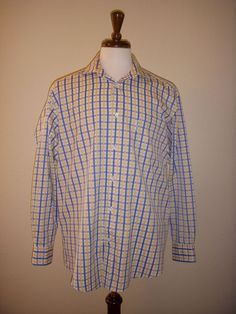 Facconable 100% Cotton Plaid Buttondown Long Sleeve Shirt, Size L #Facconable