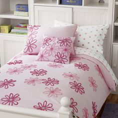 Girls Bedding: Girls Pink Flower Bedding Comforter Set - Twin Pink Floral Duvet Cover by The Land of Nod $99