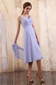 Tea Length Outdoor A-Line Summer Pleated Bodice Sleeveless Simple Mother Of The Bride Dress - 5