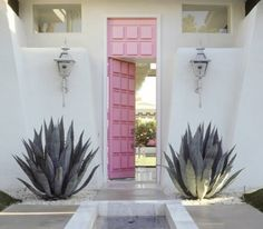 Create a breathtaking entry with the simplicity of pink and white and   some statement succulents in a beautiful gray tone.