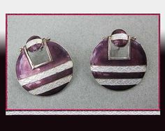 Your place to buy and sell all things handmade Vintage Earrings, Vintage Jewelry, Norwegian Style, The White Stripes, Machine Design, Silver Enamel, Ear Piercings, Mauve, Sterling Silver Earrings
