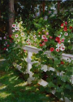 Kathy Anderson | Hollyhocks on the Bay, oil, 30 x 22.