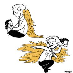 Gabriel with his baby brother Castiel. Hahaha, I'm feeling the brotherly love.