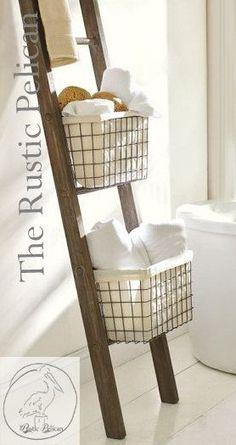 Rustic Bathroom Ladder -Farmhouse Ladder - Rustic 6ft - 4ft Ladder - Wooden Ladder - Rustic Towel Rack -Primitive Home Decor - Magazine Rack                                                                                                                                                                                 More