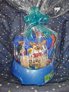 Good Puppy Basket  Give this basket to someone with a new puppy or to someone whose dog has had surgery as a pick-me-up gift.  This cute little doggie basket sells for $15.00.