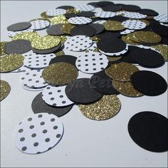 Black, gold glitter and polka dot party confetti to instantly decorate wedding, bridal shower and birthday party tables. We hand punch each piece from the highe