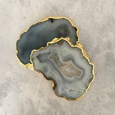 Handcrafted in India, these unique natural stone coasters feature a gold rimmed edge. South African Shop, Stone Coasters, Handmade Crafts, Natural Gemstones, Agate, Im Not Perfect, Grey, Shops, Furniture